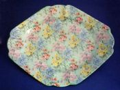 Rare Shelley 'Melody' Chintz Queen Anne Sandwich Tray c1935
